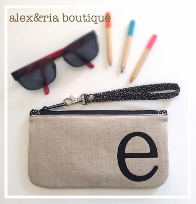Monogram Clutch Bag With Wrist Strap Bridesmaid Wrislet French Country Wedding Linen Look ...