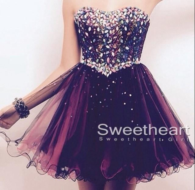 wedding photo - Sweetheart A-line Tulle Short Prom Dress,Homecoming Dresses from Sweetheart Girl