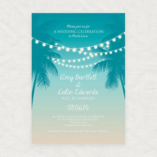 Tropical printable wedding invitation digital file beach for Digital wedding invitations