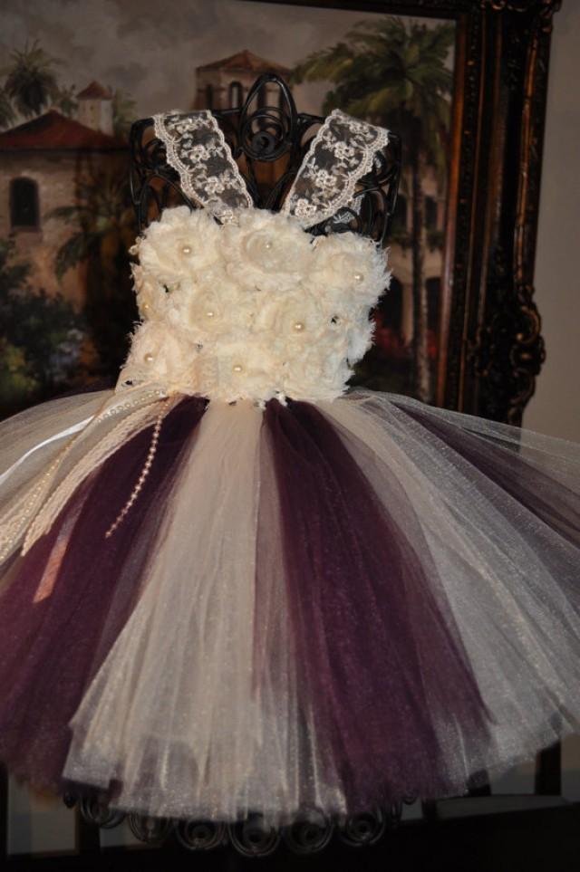 Flower Girl Dress Vintage Inspired Girls Dress Ivory Plum