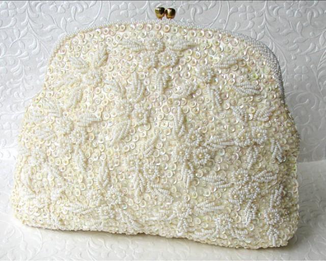 Ivory Wedding Purse Vintage Bridal Handbag Walborg Richer Clutch Hand Seed Beaded Hong Kong ...