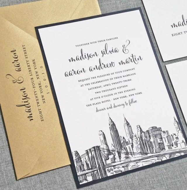 madison new york skyline wedding invitation sample boston chicago