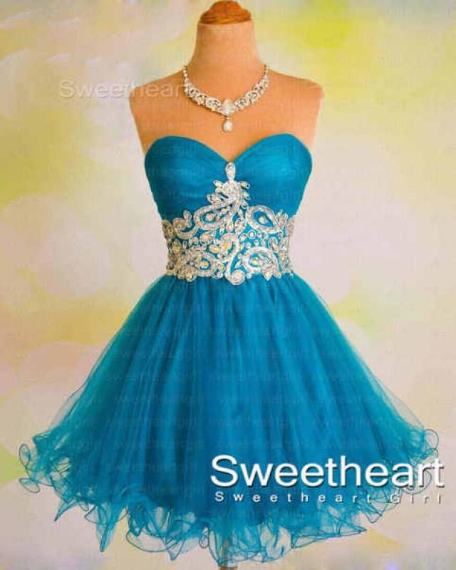 wedding photo - Blue Sweetheart Tulle Short Prom Dress, Homecoming Dresses from Sweetheart Girl