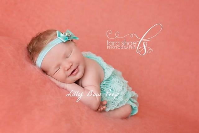 Baby Girl Clothes Blue Lace Petti Romper And Headband