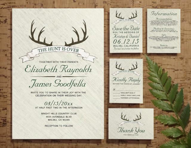 Wedding Invitation Rsvp Date: The Hunt Is Over Wedding Invitation Set/Suite, Invites