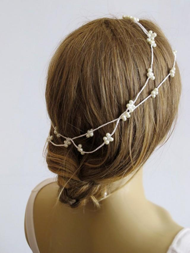 Crochet Wedding Hairstyles : Crochet Pearl Headband, Bridal Hairband, Pearl Headband, Wedding Hair ...