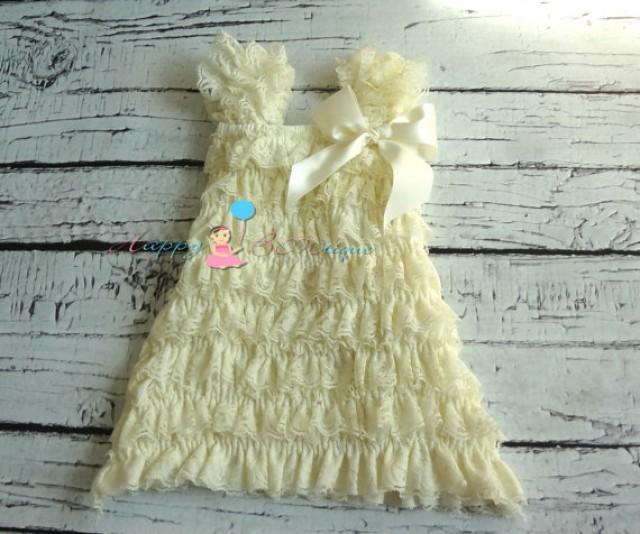 wedding photo - CLEARANCE, Ivory Lace Dress,baby dress,girls dress,baptism dress,ruffle dress,Birthday outfit,flower girl dress,wedding, Christening,toddler