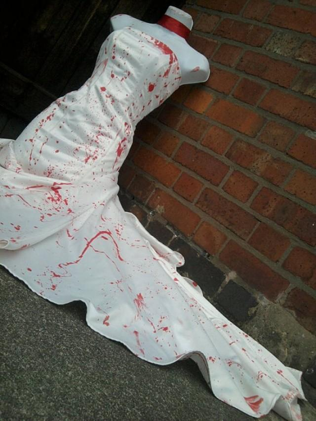 Halloween Zombie Bride Dress Costume Blood Splattered