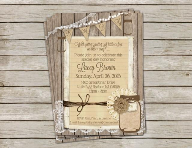 Rustic Burlap And Lace Baby Shower Invitation Gender