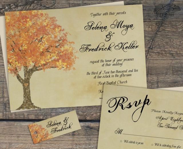 wedding photo - Rustic Fall Wedding Invitation