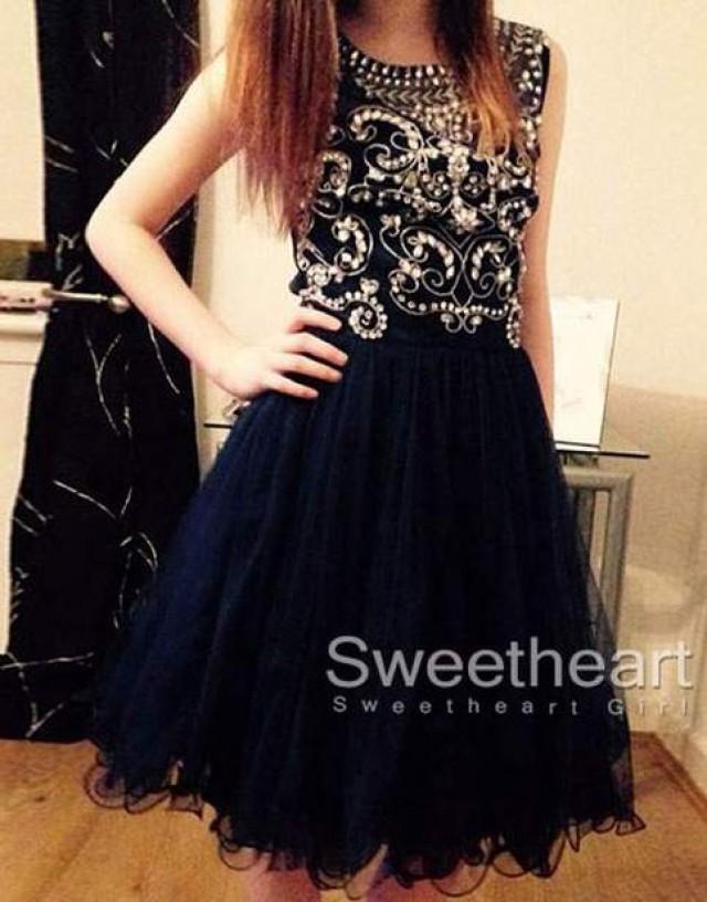 wedding photo - Black Round neckline Rhinestone Tulle Short Prom Dress, Homecoming Dress from Sweetheart Girl