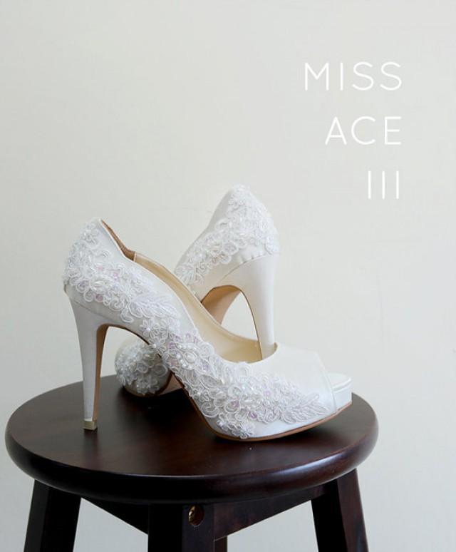 Ivory White Lace EmbroideryWedding ShoesIvory White Bridal HeelsIvory White Beaded Lace