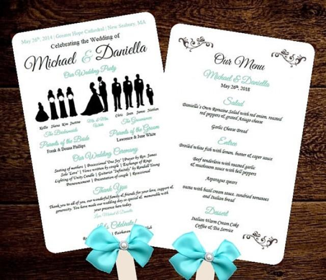 Diy silhouette wedding fan program w menu printable for Diy wedding program fan template