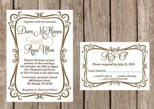 Picture Frame Wedding Invitations: Modern Wedding Invitation, Flourish Wedding Invitation