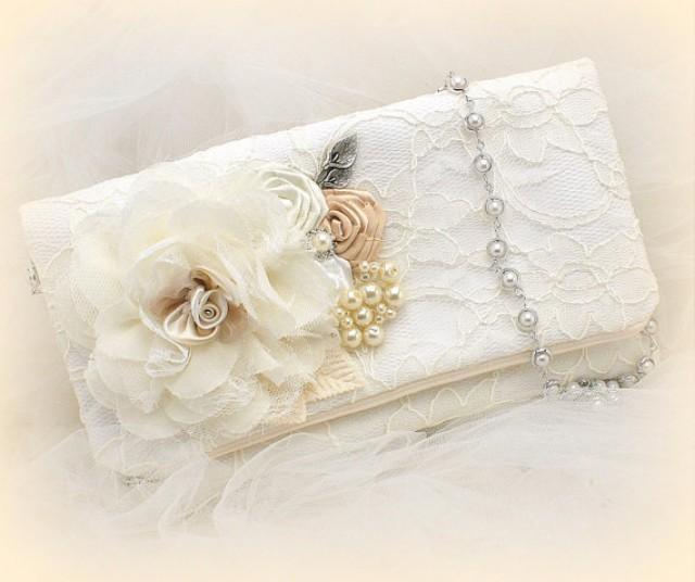Clutch Bridal Wedding Handbag Bag Strap Ivory White Tan Beige Champagne Lace Pearls ...