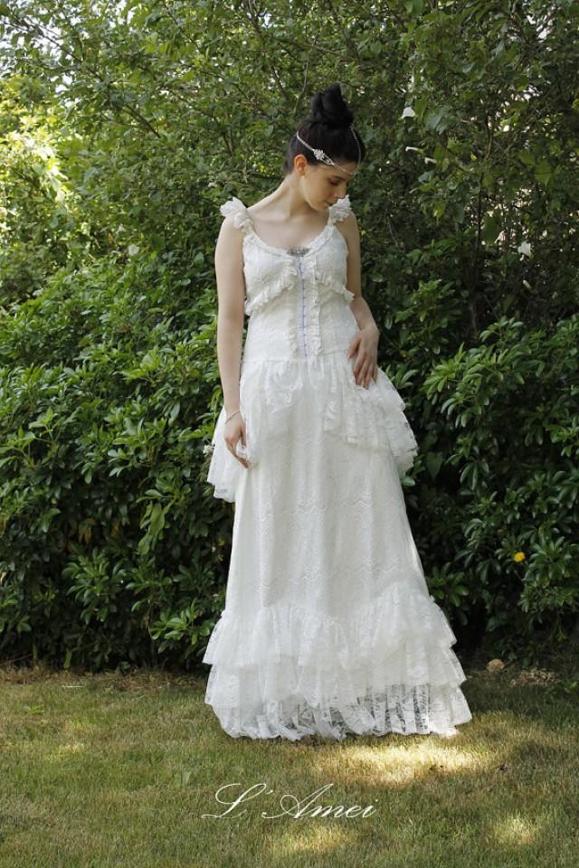Vintage Retro Victorian Style Custom Made Lace Wedding Dress ...