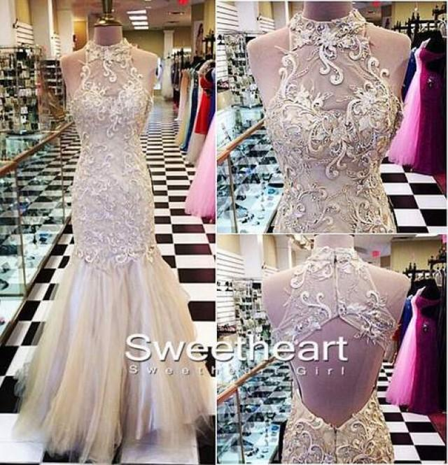 wedding photo - A-line Lace Champagne Tulle Long Prom Dress, Formal Dresses from Sweetheart Girl