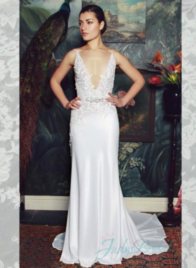 4231dc911d Sexy Plunging V Neck Illusion Lace V Back Sheath Wedding Dress  2342846 -  Weddbook