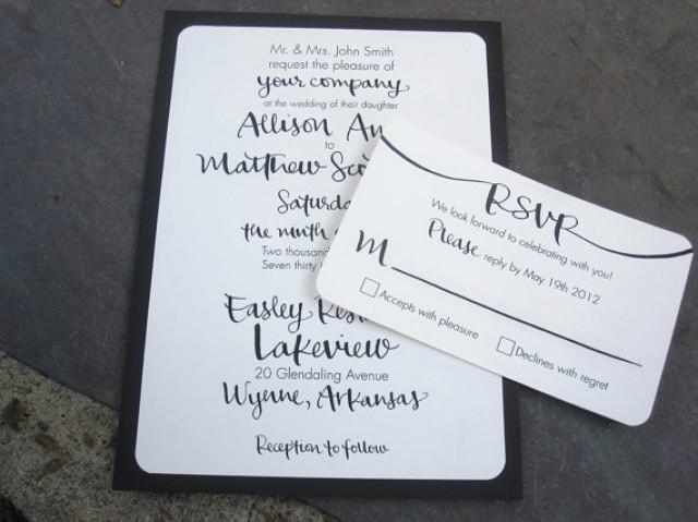 Digital calligraphy invitations for printing wedding for Digital wedding invitations with rsvp