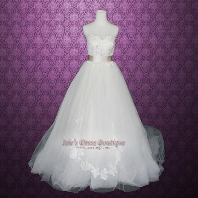 Champagne v neck princess tulle ball gown wedding dress for Champagne ball gown wedding dresses