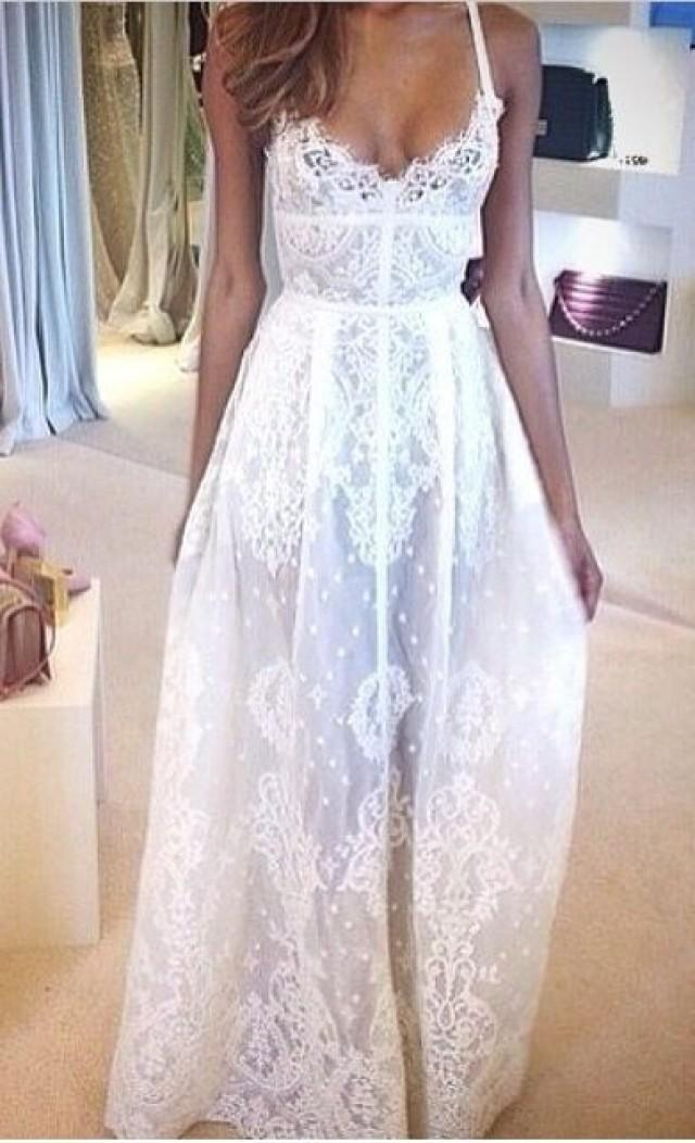 Dress sexy long lace slip dress white 2344225 weddbook for White dress after wedding