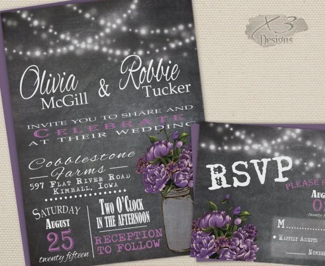 wedding photo - Rustic Mason Jar Wedding Invitation Suite - Summer Barn Wedding Invite w/ String Lights, & Purple Peonies - Digital or Printed