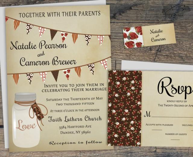 wedding photo - Rustic Mason Jar Wedding Invitation, Fall Country Wedding Invite Printable
