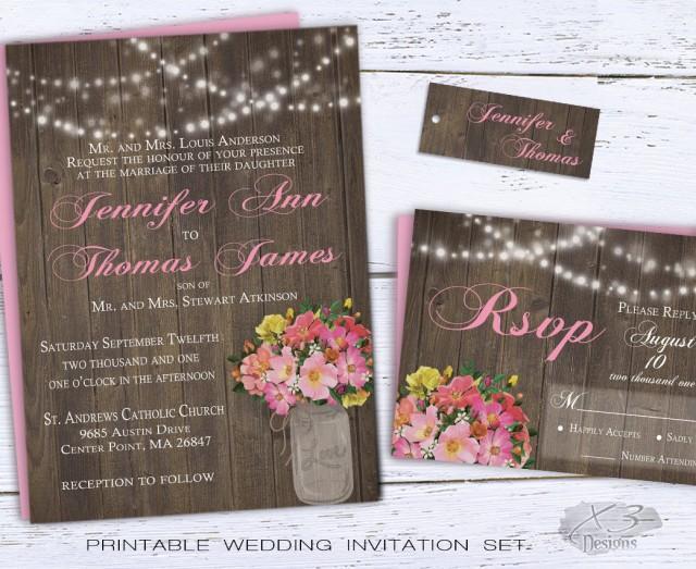 wedding photo - Rustic Mason Jar Wedding Invitation, Summer Country Wedding Invite Printable