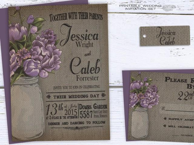wedding photo - Rustic Mason Jar Wedding Invitation, Summer Printable Wedding Invitation - Invite Purple