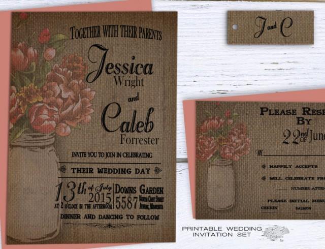 wedding photo - Rustic Mason Jar Wedding Invitation, Rustic Elegant Wedding Invitation