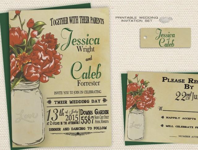 wedding photo - Rustic Mason Jar Wedding Invitation, Fall or Winter Printable Wedding Invitation, X3 Deisgns