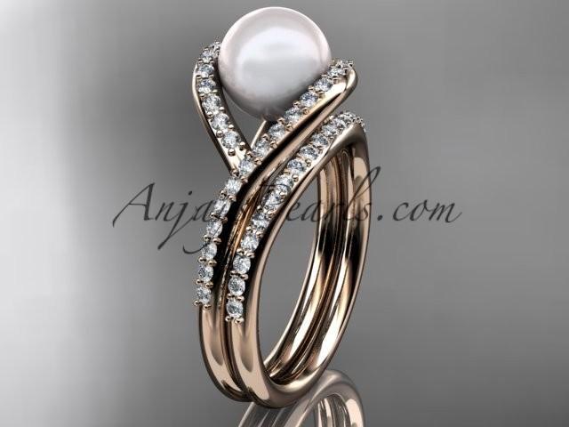 14kt Rose Gold Diamond Pearl Unique Engagement Set Wedding Ring AP383S 2344