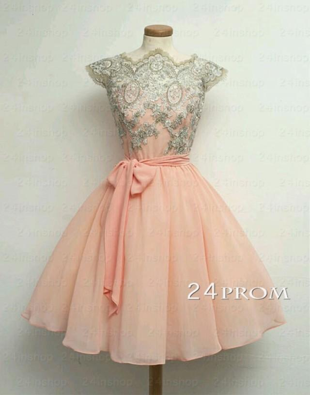 wedding photo - Custom Made A-line Chiffon Lace Short Prom Dresses - 24prom
