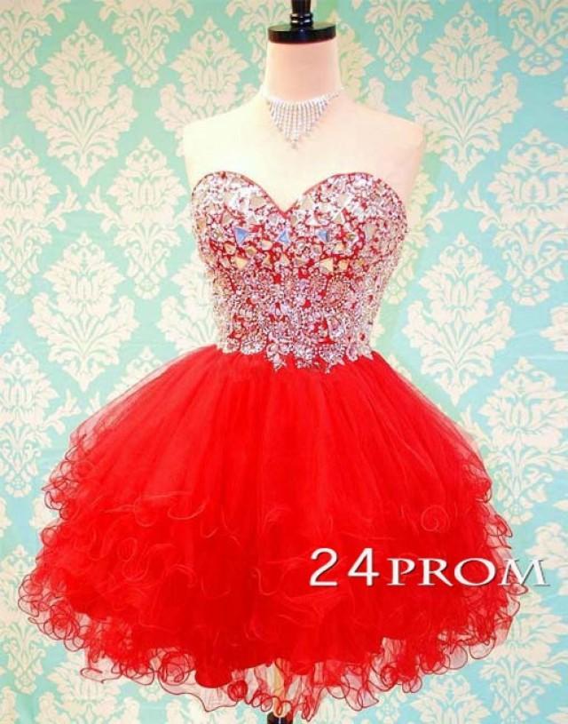 wedding photo - Sweetheart Ball Gown Red Rhinestone Short Prom Dress, Homecoming Dress - 24prom