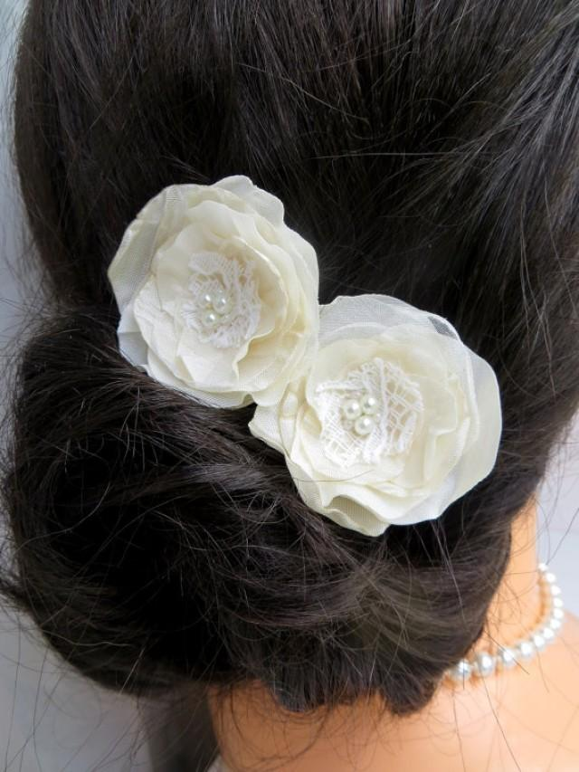 Bridal Ivory Flower Hair Accessories : Ivory cream wedding bridal flower hair clips set of