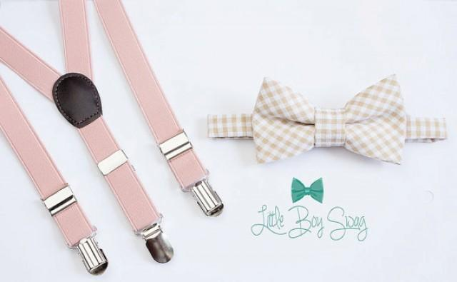 f0eca441b0b5 Beige Checkered Bow Tie with Blush Suspenders..Kids Clothing..Bow tie and  Suspenders Set..Boys wedding outfit..Ring Bearer Outfit