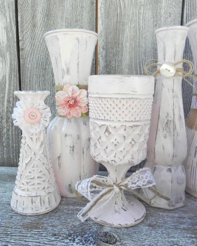 burlap and lace pink shabby chic vase collection wedding vase decor rustic shabby chic wedding. Black Bedroom Furniture Sets. Home Design Ideas