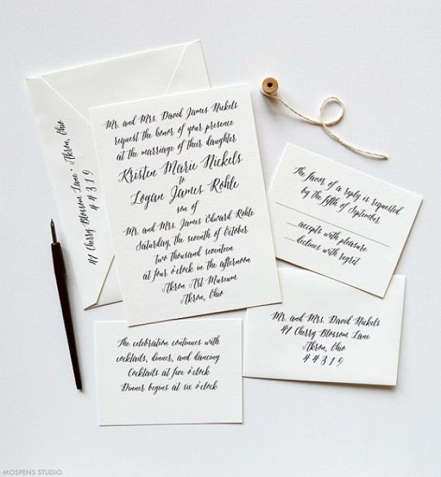 Classic wedding invitations letterpress
