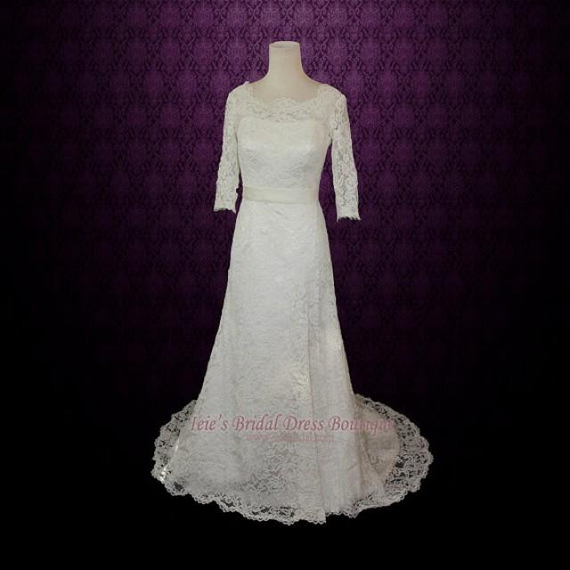 Sale 25 off vintage modest lace wedding dress with long for Long sleeve lace wedding dresses for sale