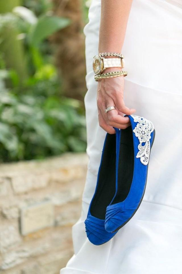 Wedding flats cobalt blue bridal ballet flats wedding for Flat dress sandals for weddings