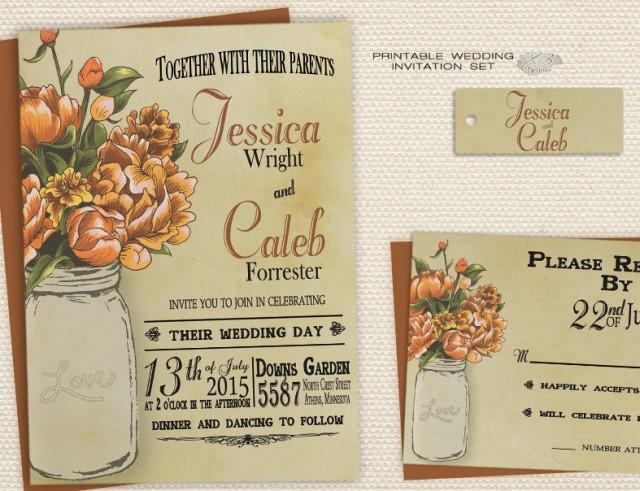 wedding photo - Rustic  Mason Jar Wedding Invitation, Rustic Fall Wedding Invitation, Printable Wedding Invitation / Invite
