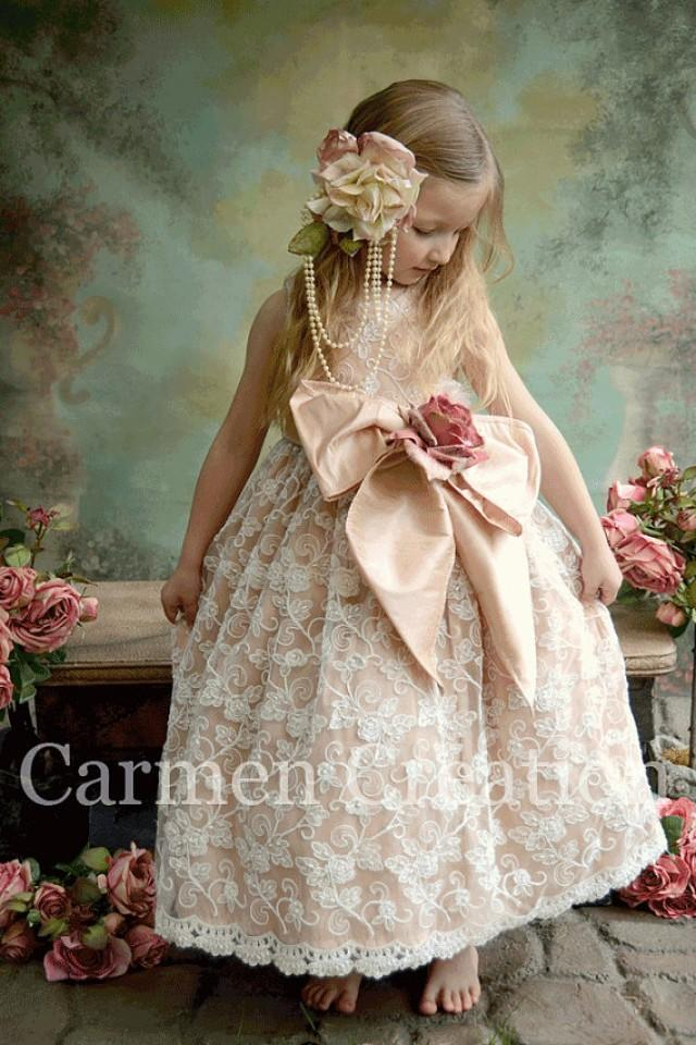 Ivory Flower Girl Dress With Plum Sash 36