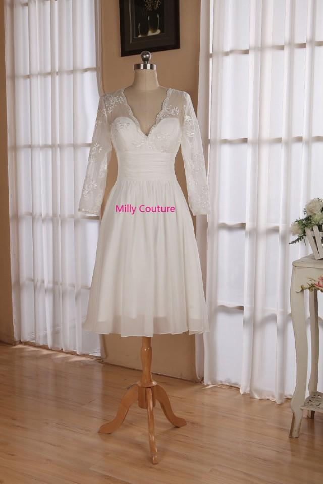 Lace short wedding dress with 3 4 sleeves knee length for Knee length wedding dresses with sleeves