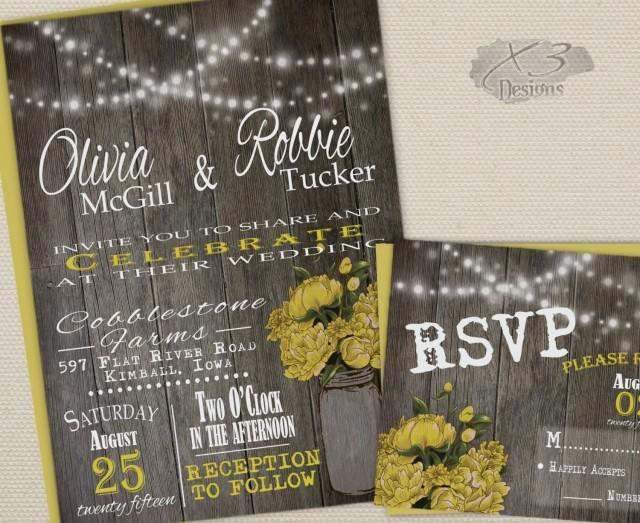 wedding photo - Rustic Mason Jar Wedding Invitations Printable