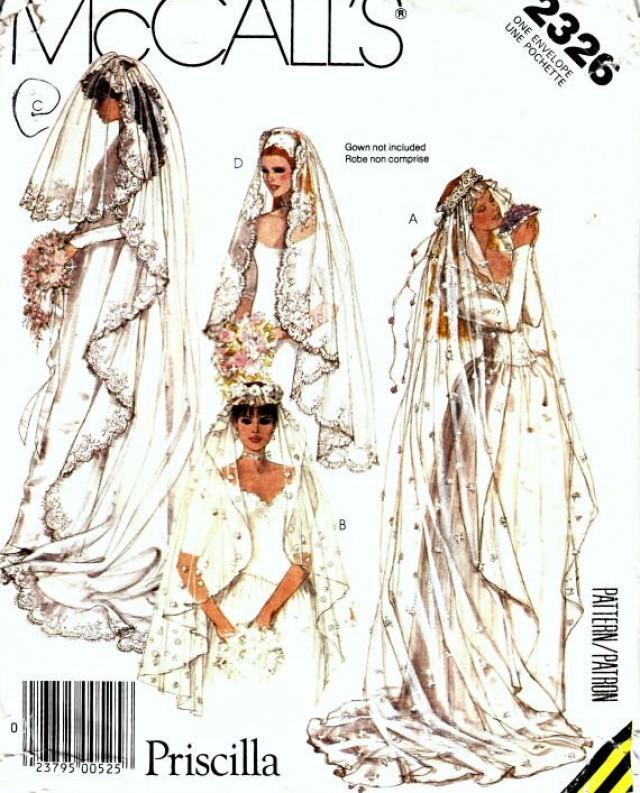 Wedding Veils And Headpieces Patterns: 1980's Priscilla Bridal Veil Pattern McCall's 2326 Retro