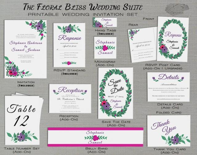 wedding photo - Rustic Wedding Invitation, Floral Country Wedding Invitation