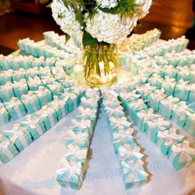 wedding photo - 唯美个性高档Tiffany蓝色主题婚礼蒂芙尼钻礼盒糖果喜糖盒TH040