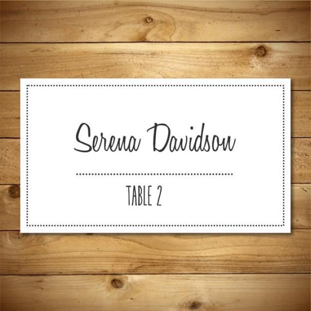 printable vintage wedding tent placecard template dark grey white instant download