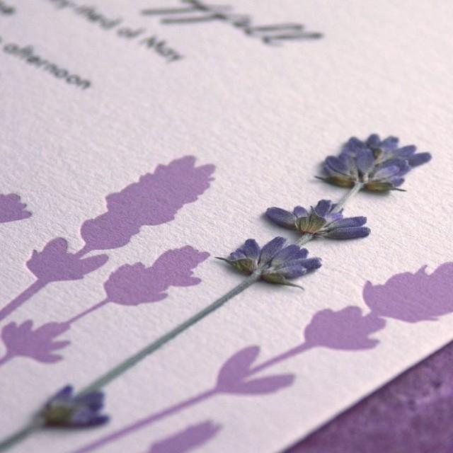 Lavender Field Pressed Flower Letterpress Wedding Invitation