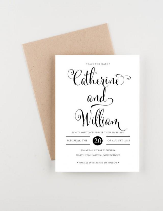 Classic Calligraphy Save The Date Bridal Shower Wedding Invitation 2347003